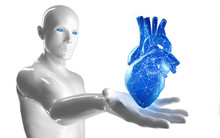 3d Model Of Man Holding Up A Abstact Blue Heart With Network Structure - 3D Illustration