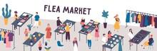 Flea Market Flat Vector Illust...