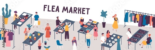 Fotomural  Flea market flat vector illustration