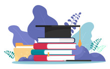 Student Hat With A Brush, A Stack Of Books, Files And A Pen With A Pen. Education, Students, Dissertation, Training. Vector Illustration I In Cartoon Flat Style.