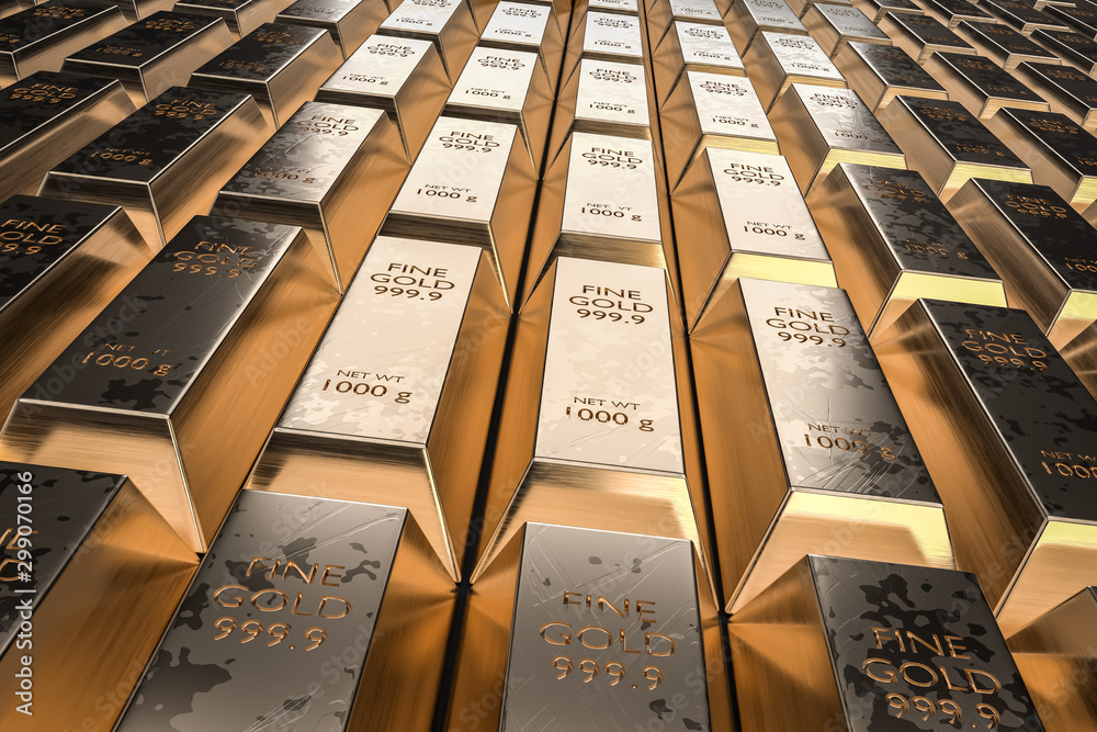 Fototapety, obrazy: Gold bars or ingot - financial success and investment concept