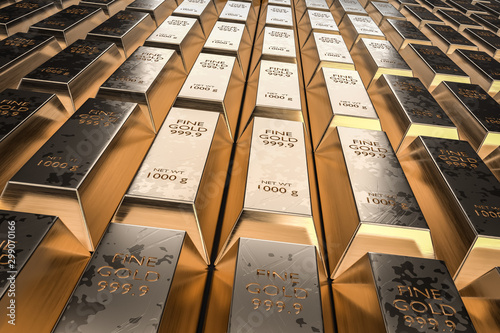 Fotomural  Gold bars or ingot - financial success and investment concept