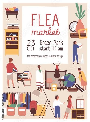 Designer market flat poster vector template Canvas Print