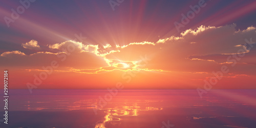Poster Corail Beautify sunset over sea, sun ray