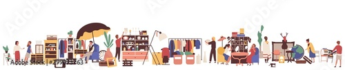 Valokuvatapetti Flea market flat vector illustration