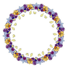 Vector Corner Circle Wreath Of...