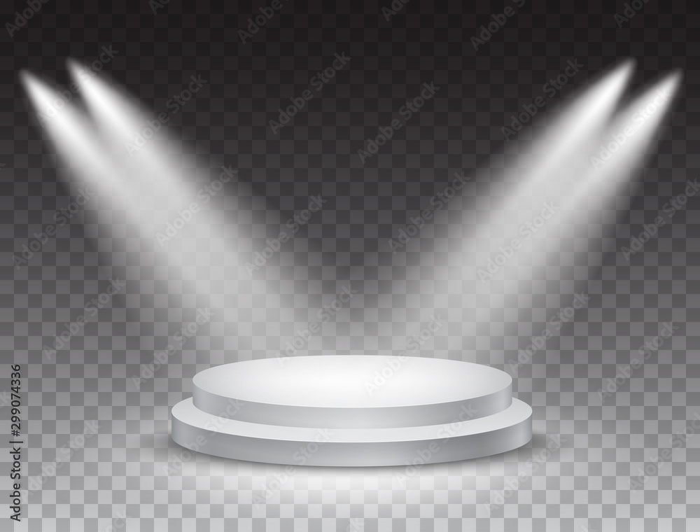 Fototapety, obrazy: Podium stand isolated on transparent background. White circle plinth, pillar or display stage. Vector empty prize pedestal with projector light beams.
