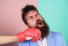 Teeth Pain Concept. Defenseless Head. Suffering. Punch In Face. Destroy Beauty. Cosmetology And Plastic Surgery Services. Strong Punch. Hand In Boxing Glove Punching Bearded Male Face. Painful Punch