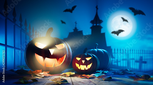 Spooky Pumpkins at Halloween Full Moon Night Wallpaper Mural
