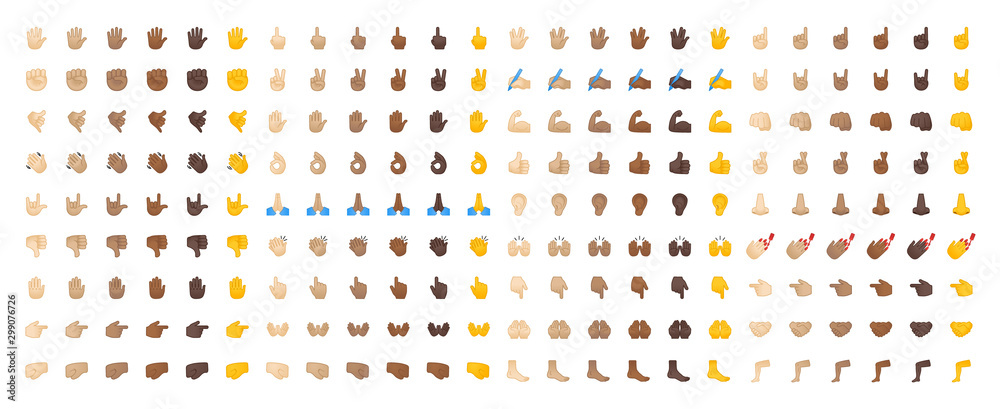 Fototapeta All hand emojis, stickers in all skin colors. Hand emoticons vector illustration symbols set, collection. Hands, handshakes, muscle, finger, fist, direction, like, unlike, fingers.