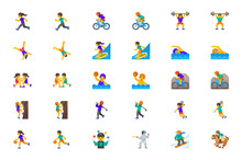 Sportsman Vector Icons Set. Sport People Man, Woman Persons Icons Illustration Symbols Emojis, Characters Set, Collection Cartoon Style - Vector