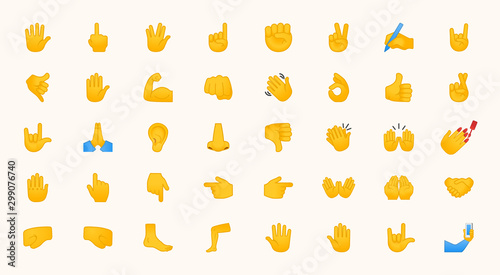 Hand Emojis Gestures Vector Icons Set. All Type of Hand Emoticons, Thumbs Up, Down, Arm, Elbow, Gym, Muscle, Nail Illustrations Collection