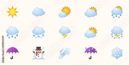 Fototapeta Weather Icons Vector Set. Temperature, Cloud, Sky Symbols Set. Sunny, Cloudy, Rainy, Stormy, Hot Degree Sun Illustrations obraz