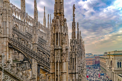 One part of famous Milan Cathedral Canvas Print