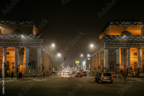 Porta Venezia night picture on the fog, decorated for Christmas time Wallpaper Mural