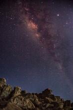 Milky Way Over Big Rock Rises In Beautiful Dark Sky.. Night Photography. Long Exposure