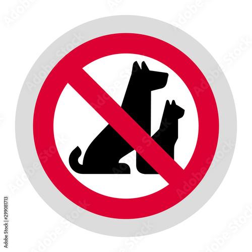 Fotomural No pets forbidden sign, modern round sticker