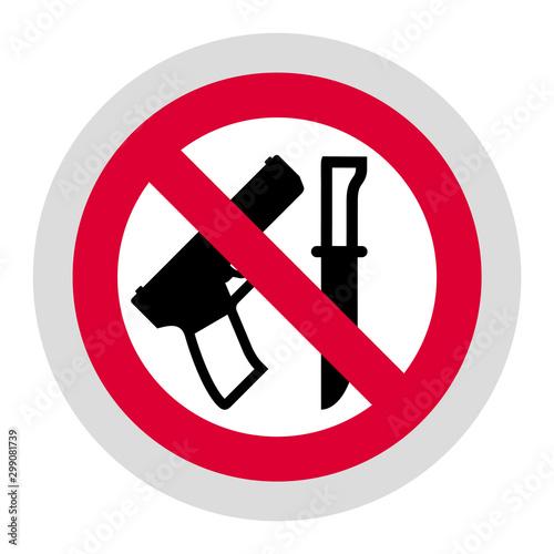 Cuadros en Lienzo No weapon forbidden sign, modern round sticker