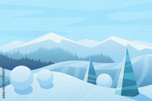 Foto auf Gartenposter Licht blau Mountains and sky landscape vector illustration. Snowy hills and spruces. Winter nature with forest. Wintertime, cold weather. Blue seasonal background. Frosty outdoor scene with snow