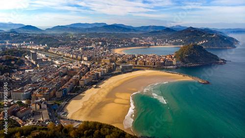 Carta da parati  San sebastián donostia foto aérea playa zurriola playa de la concha