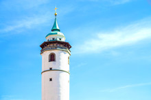White Tower In Domazlice With Blue Sky