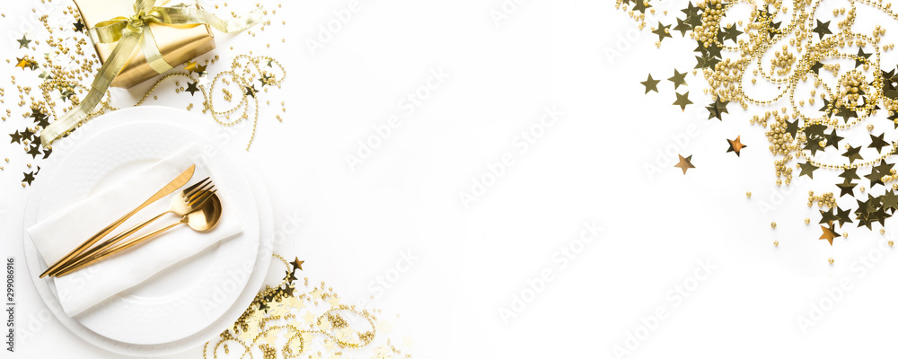 Fototapety, obrazy: Christmas table setting with golden dishware, silverware on white background. Top view.