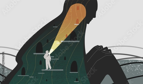 Fotografia, Obraz Mindfulness and self analysis flat vector illustration