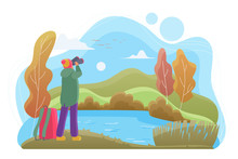 Birdwatcher With Binoculars Flat Vector Illustration. Nature Lover Cartoon Character. Man Looking At Landscape In Autumn Day. Birdwatching, Wildlife Observation, Birding. River, Forest, Lake