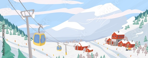 Cuadros en Lienzo  Beautiful ski resort flat vector illustration