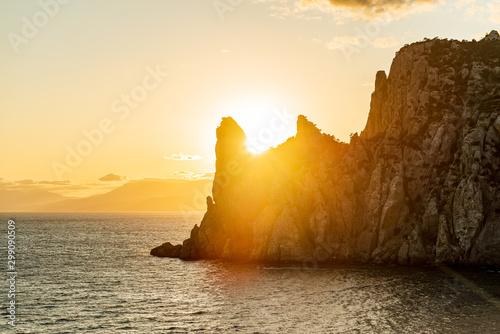 Foto auf Gartenposter Orange Landscapes of Crimea, sunrises and sunsets, mountains, sea, landscape of clouds and mountain landscapes