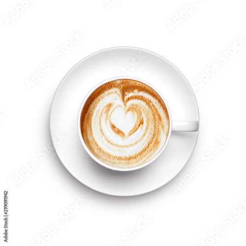 Stampa su Tela A cup of cappuccino over white background