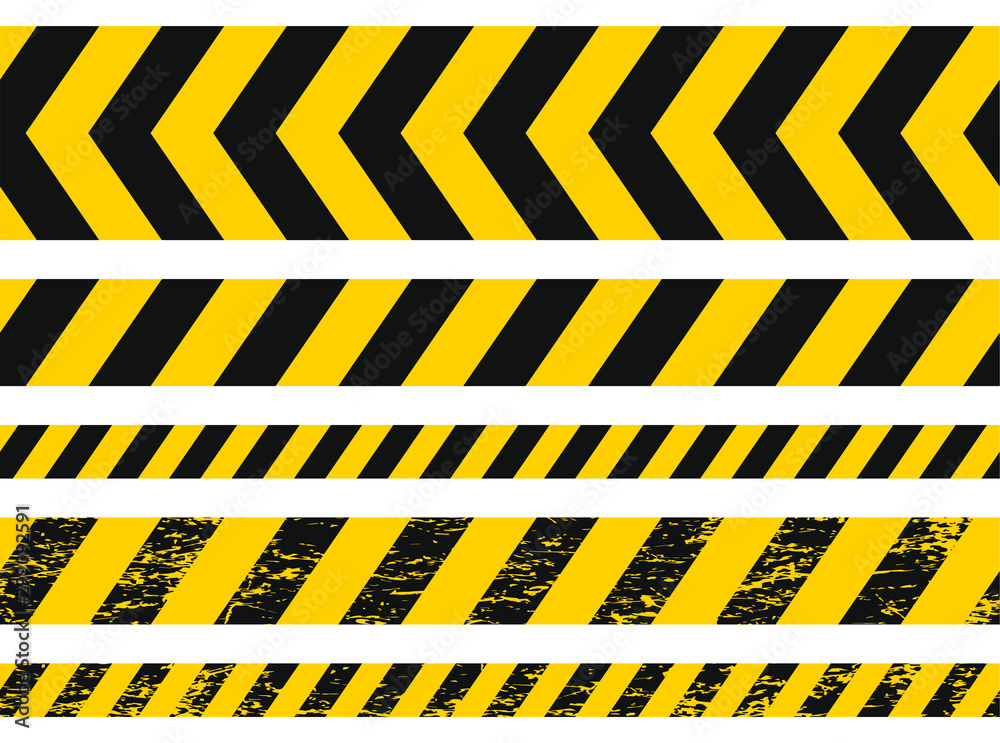 Fototapeta Seamless grunge security yellow black diagonal stripes. Safety danger signs.Warn Caution symbol. Isolated on white background.