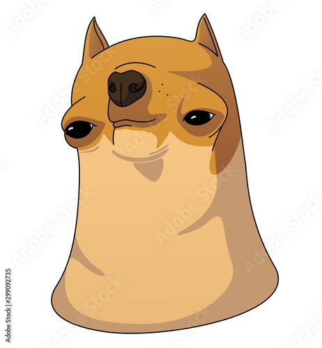 Derpy weird Chihuahua Dog head for funny memes and others. Caricature Illustration isolated on white background.