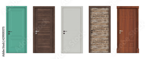 Doors for modern interior  3D render. Canvas Print