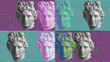 canvas print picture Contemporary art concept collage with antique statue head in a surreal style. Modern unusual art.
