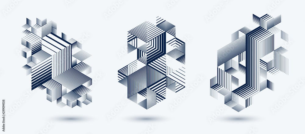 Fototapeta Linear striped abstract vector dimensional 3D backgrounds set with isolated retro style graphic element with cubes and triangles. Templates for posters or banners, covers or ads.