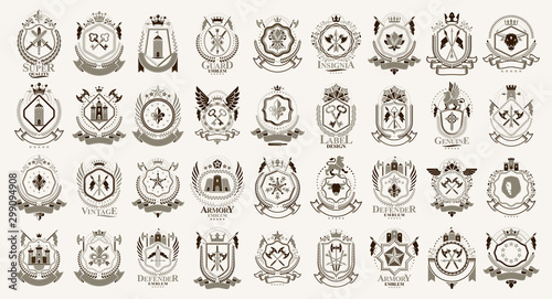 Fotografía  Vintage heraldic emblems vector big set, antique heraldry symbolic badges and awards collection, classic style design elements, family emblems