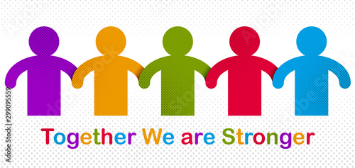 Fotomural  Worldwide people global society concept, different races solidarity, we stand as one, togetherness and friendship allegory, world unity cooperation, vector illustration logo or icon