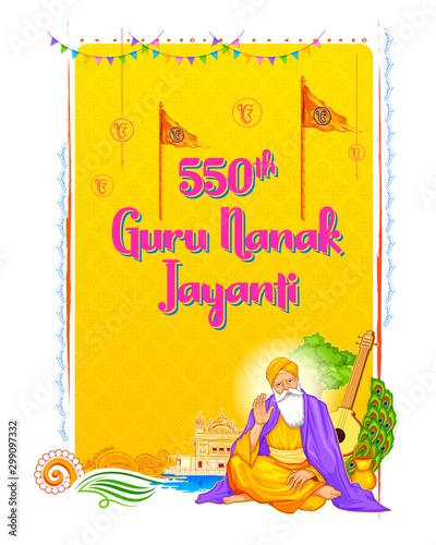illustration of Happy Gurpurab, Guru Nanak Jayanti festival of Sikh celebration background for 550th birthday