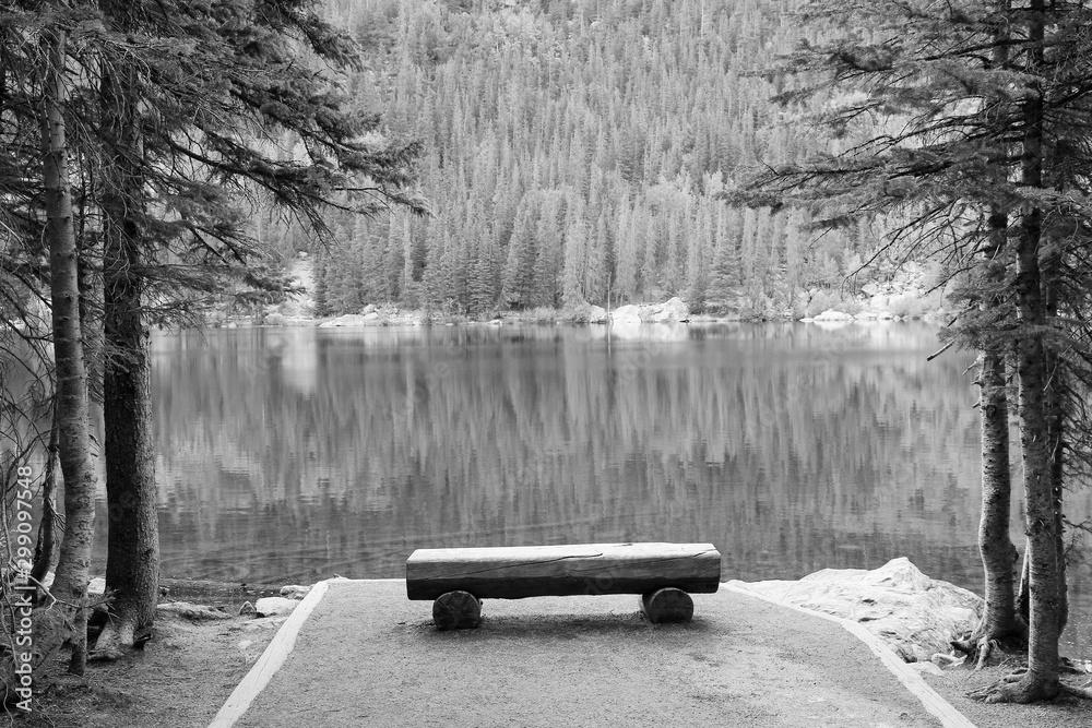 Fototapeta Bear Lake, Rocky Mountains. Black and white vintage style. American landscape.