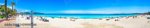 Panorama of beautiful sand beach at Cala Millor coast on Majorca, Balearic Islands, Spain