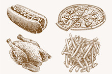 Graphical Vintage Fast Food Se...