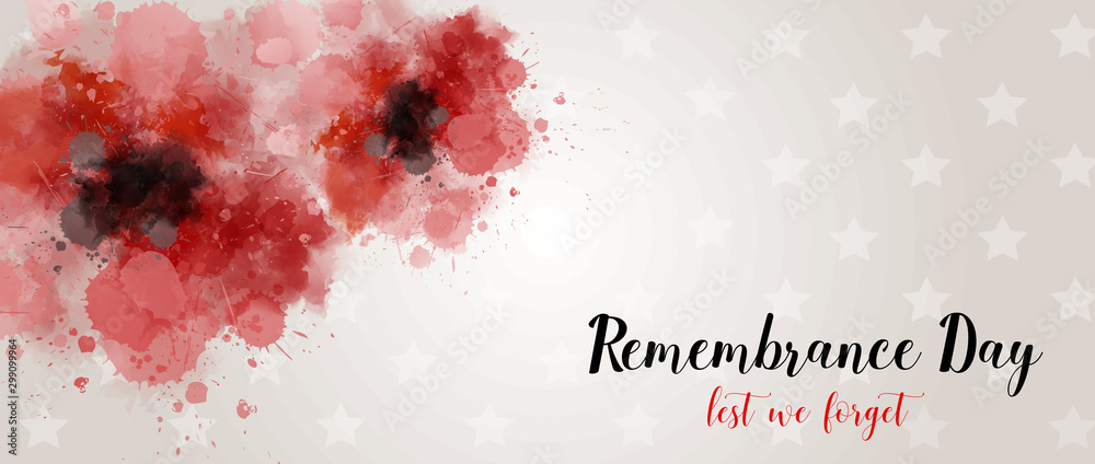Fotografía  Remembrance day background with watercolor painted poppies.