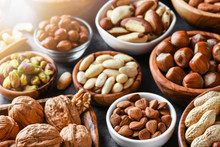 Mixed Nuts In Wooden Bowls On ...