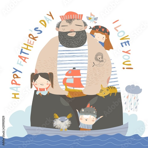 Big father sailing with children and animals at their ship