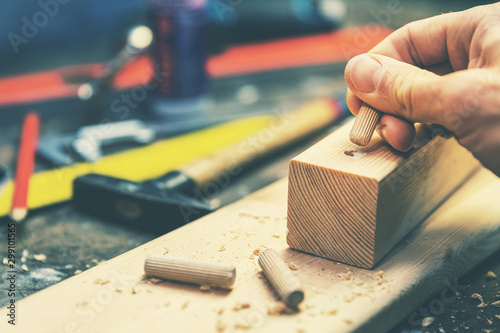 Fotografie, Obraz  joiner putting dowel pin into a piece of wood