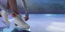 Figure Skating Girl In Ice Arena.