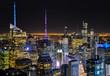 New York Skyline Wolkenkratzer Lichtermeer Farben Horizont Manhattan Top Rock