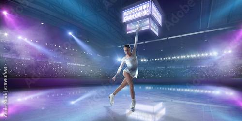Figure skating girl in ice arena. - 299102563