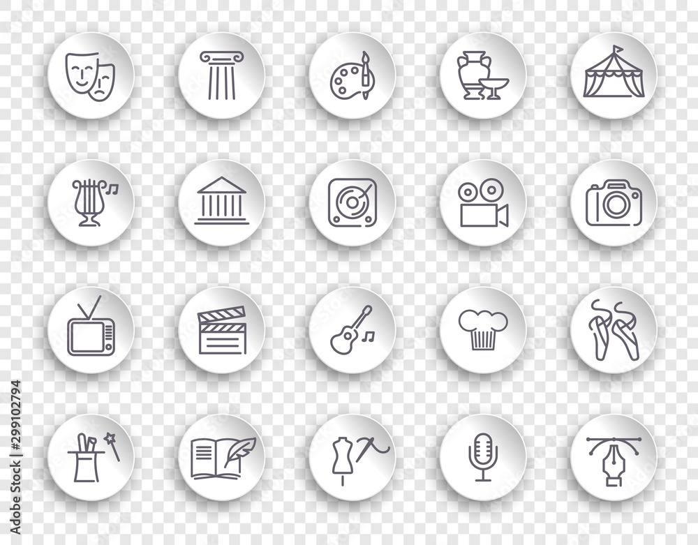 Fototapety, obrazy: Arts and Entertainment icon set. Collection of vector icons on white stickers with transparent shadows